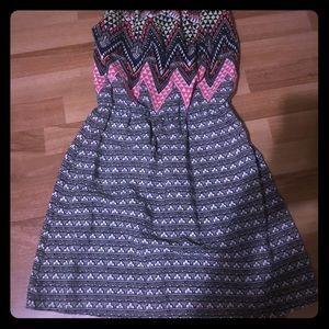 Strapless Geometric Midi Dress